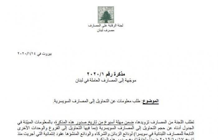لجنة الرقابة على المصارف تطلب معلومات عن التحاويل إلى المصارف السويسرية